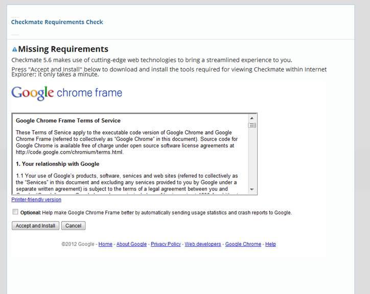 Google Chrome Frame Requirements for GPStoGO Login   GEOTAB